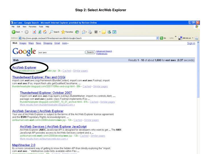 Step 2: Select ArcWeb Explorer