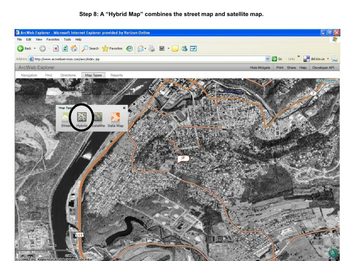 """Step 8: A """"Hybrid Map"""" combines the street map and satellite map."""