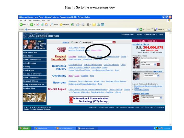Step 1: Go to the www.census.gov