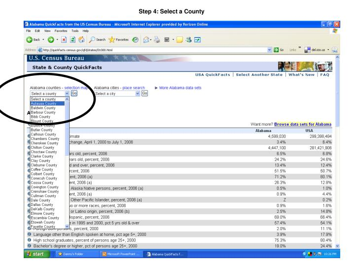 Step 4: Select a County