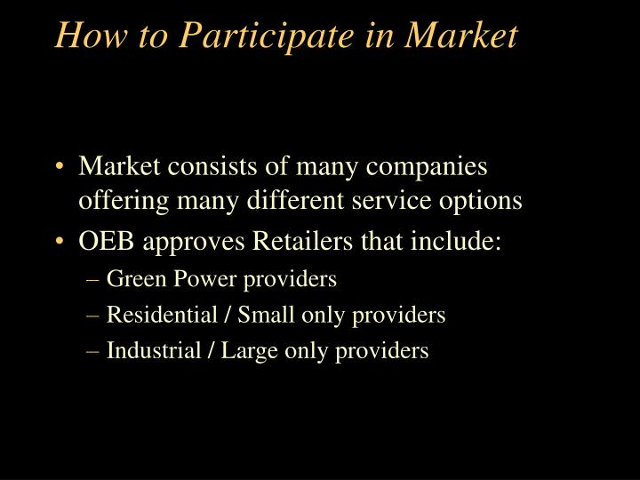 How to Participate in Market