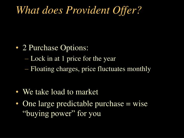 What does Provident Offer?