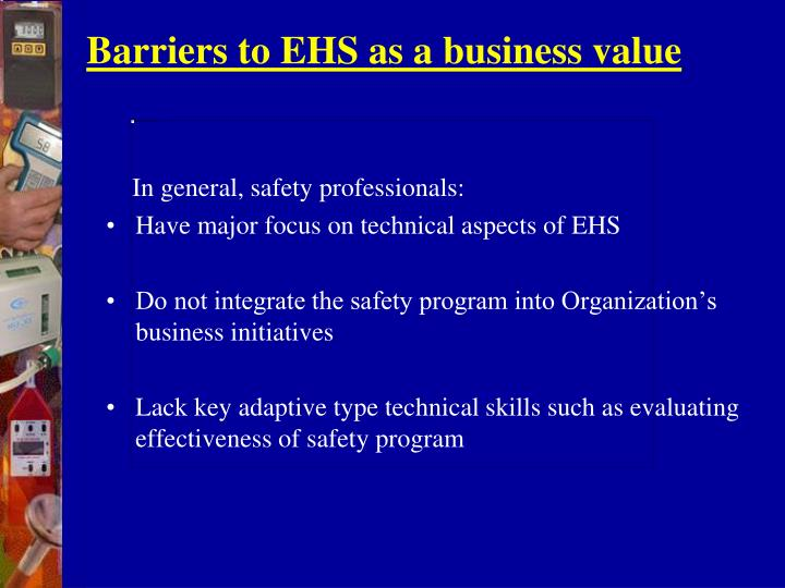 Barriers to EHS as a business value