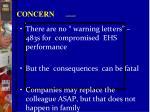 concern continued