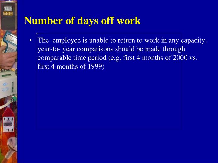 Number of days off work