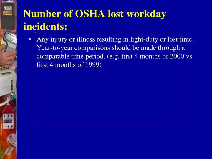 Number of OSHA lost workday incidents: