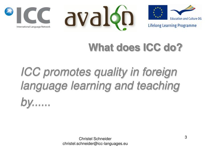 ICC promotes quality in foreign language learning and teaching