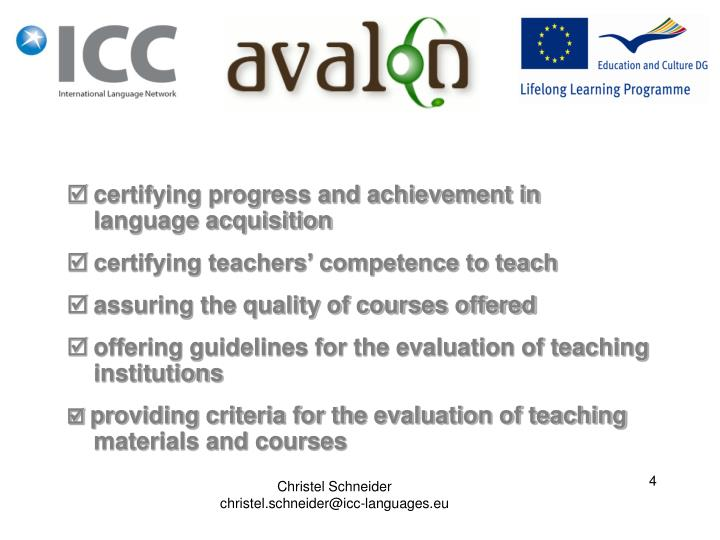 certifying progress and achievement in