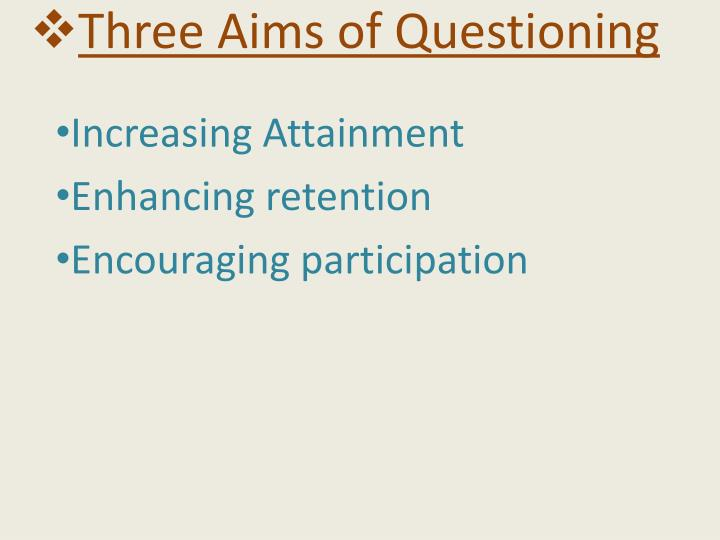 Three Aims of Questioning