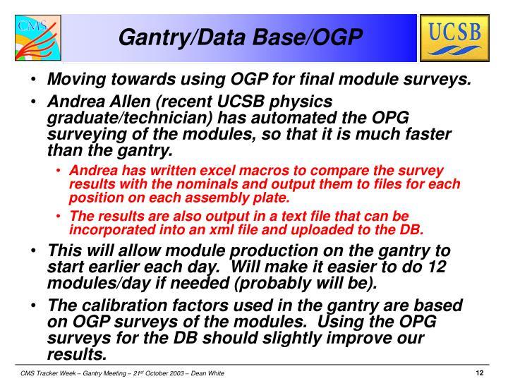 Gantry/Data Base/OGP