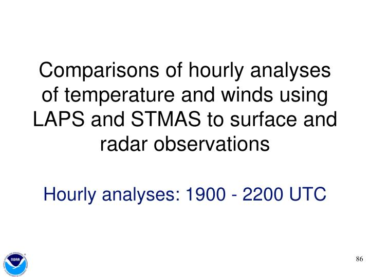 Comparisons of hourly analyses of temperature and winds using LAPS and STMAS to surface and radar observations