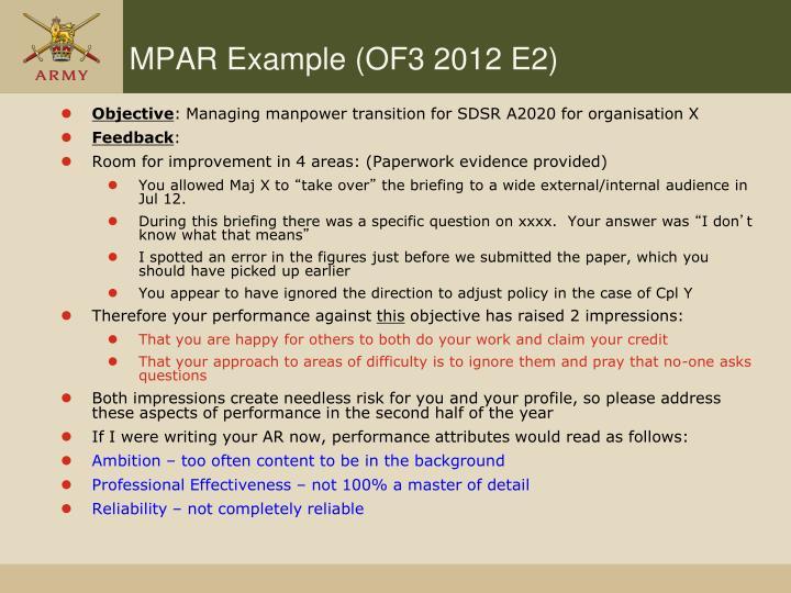MPAR Example (OF3 2012 E2)