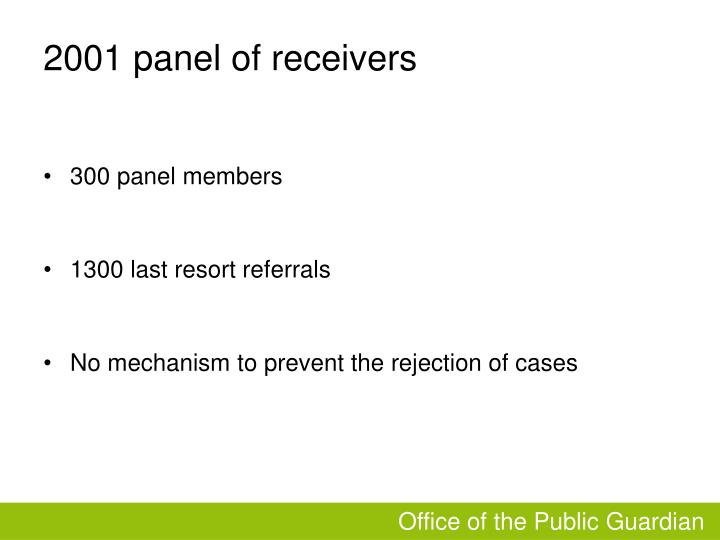 2001 panel of receivers