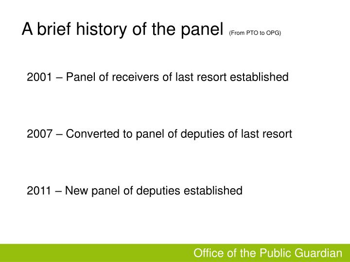 A brief history of the panel