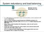 system redundancy and load balancing