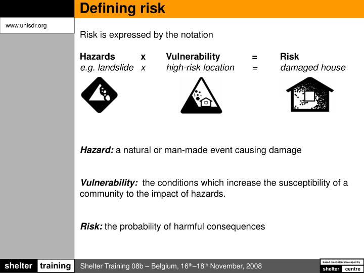 Defining risk