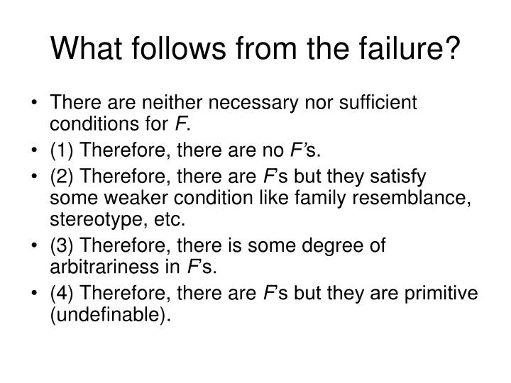 What follows from the failure?