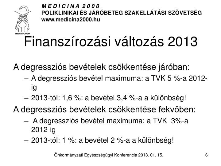 Finanszírozási változás 2013