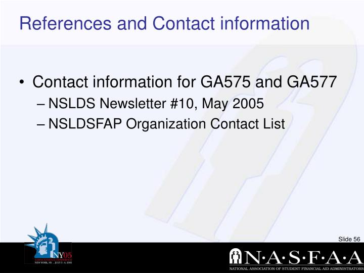 References and Contact information