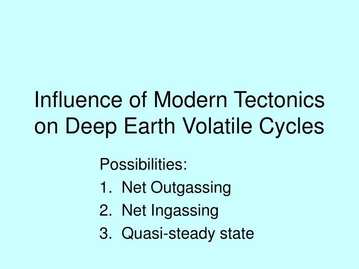 Influence of Modern Tectonics on Deep Earth Volatile Cycles