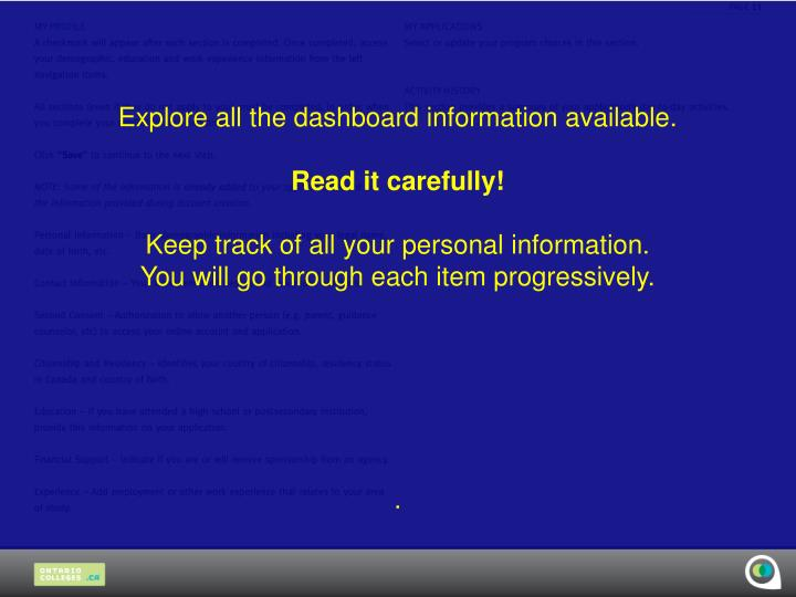 Explore all the dashboard information available.