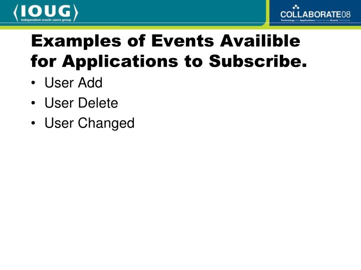 Examples of Events Availible for Applications to Subscribe.