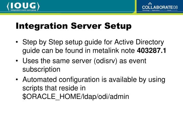Integration Server Setup
