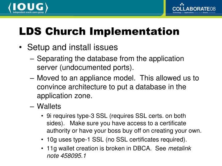LDS Church Implementation