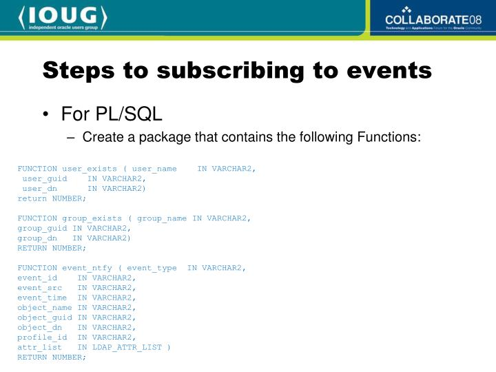 Steps to subscribing to events