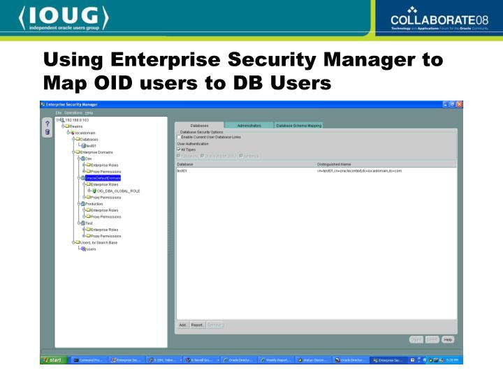 Using Enterprise Security Manager to Map OID users to DB Users