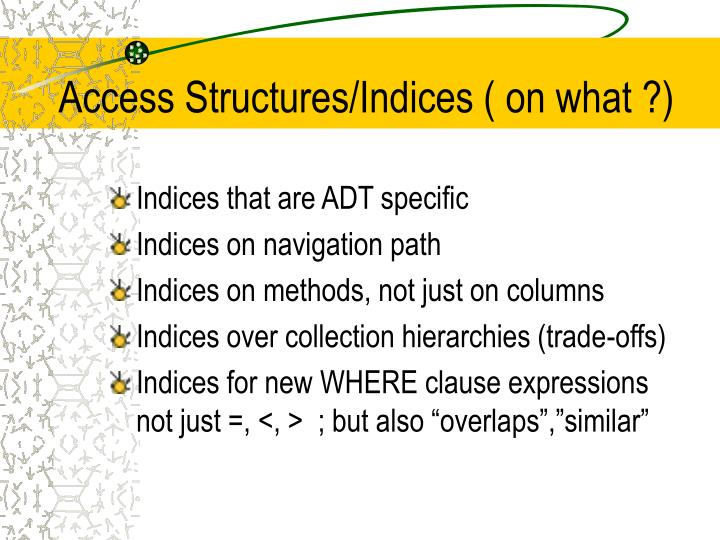 Access Structures/Indices ( on what ?)