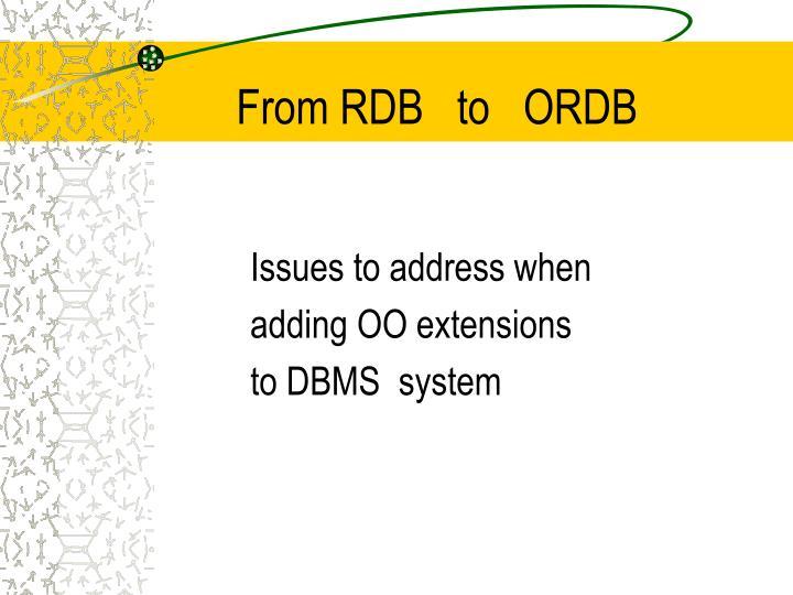 From RDB   to   ORDB