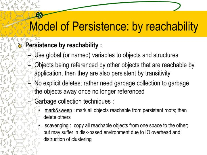 Model of Persistence: by reachability