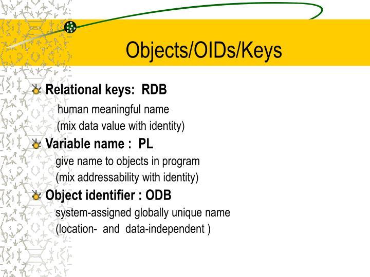 Objects/OIDs/Keys
