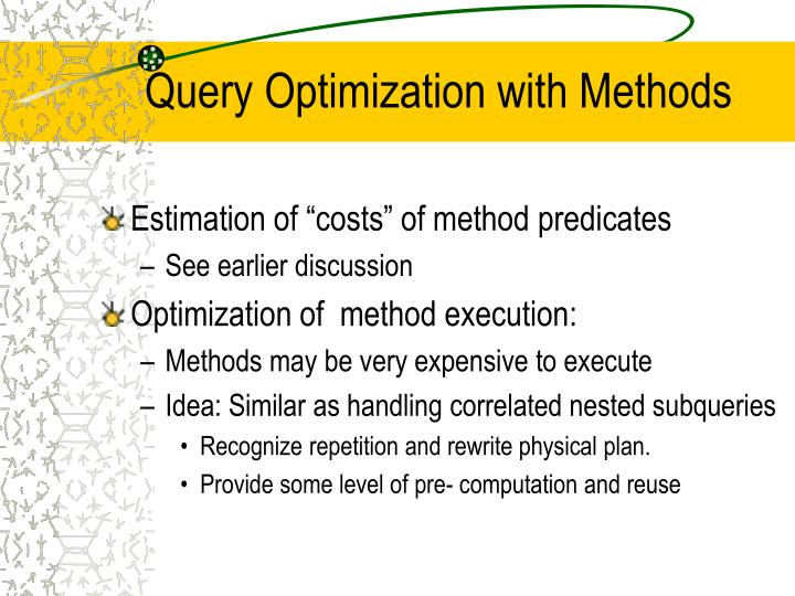 Query Optimization with Methods