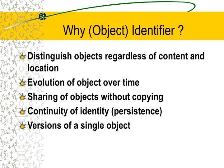 Why (Object) Identifier ?