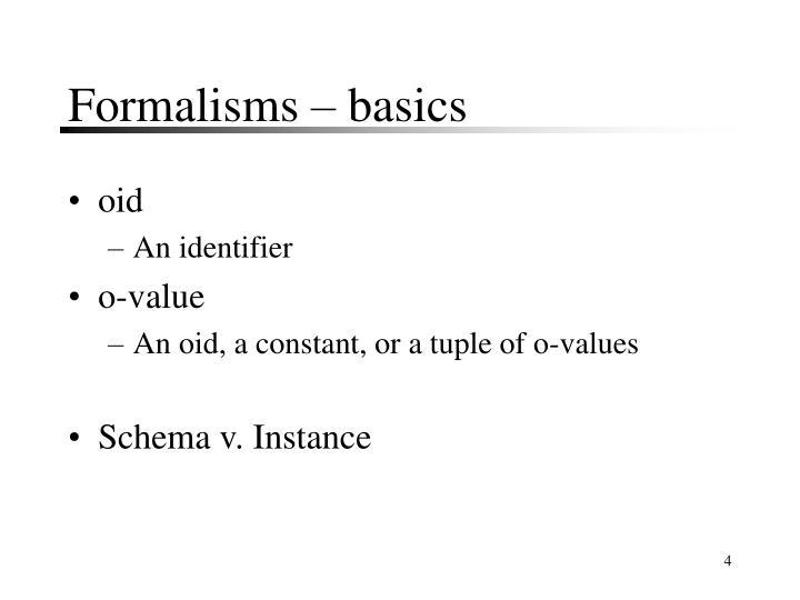 Formalisms – basics