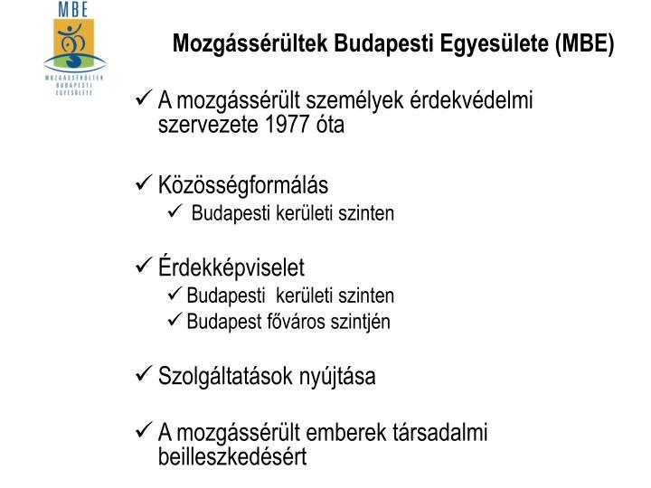 Mozgássérültek Budapesti Egyesülete (MBE)