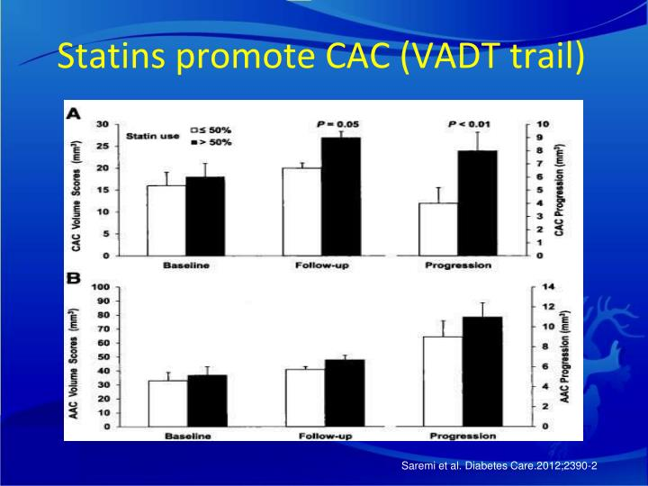 Statins promote CAC (VADT trail)