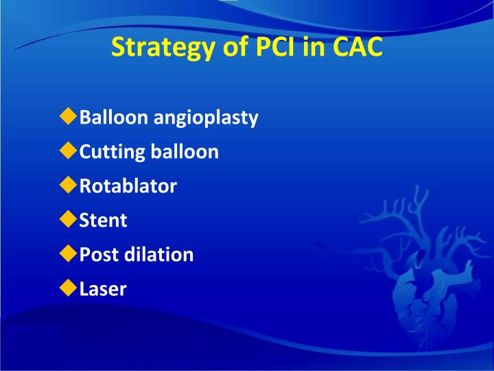Strategy of PCI in CAC
