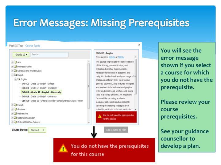 Error Messages: Missing Prerequisites