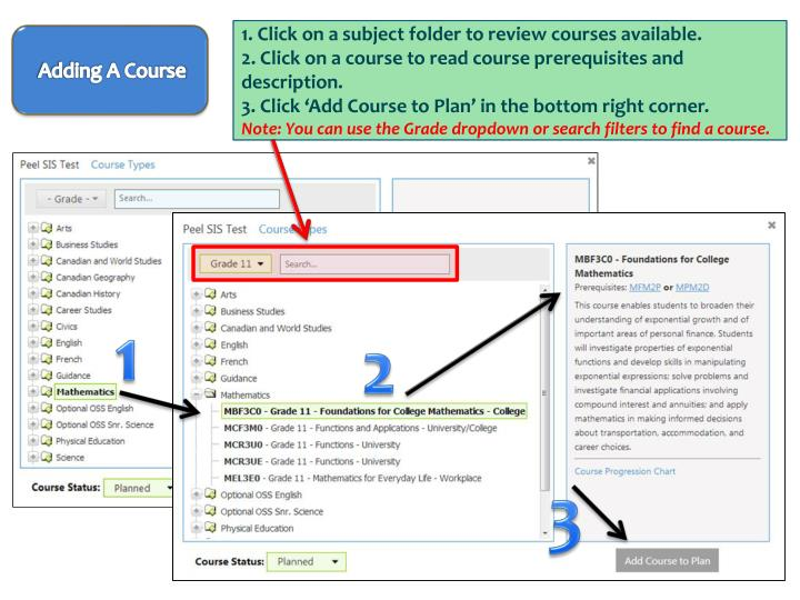 Click on a subject folder to review courses available.