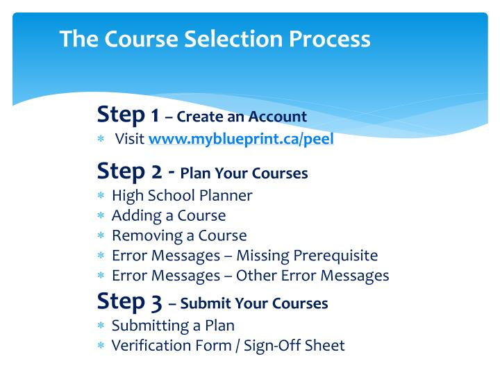 The Course Selection Process