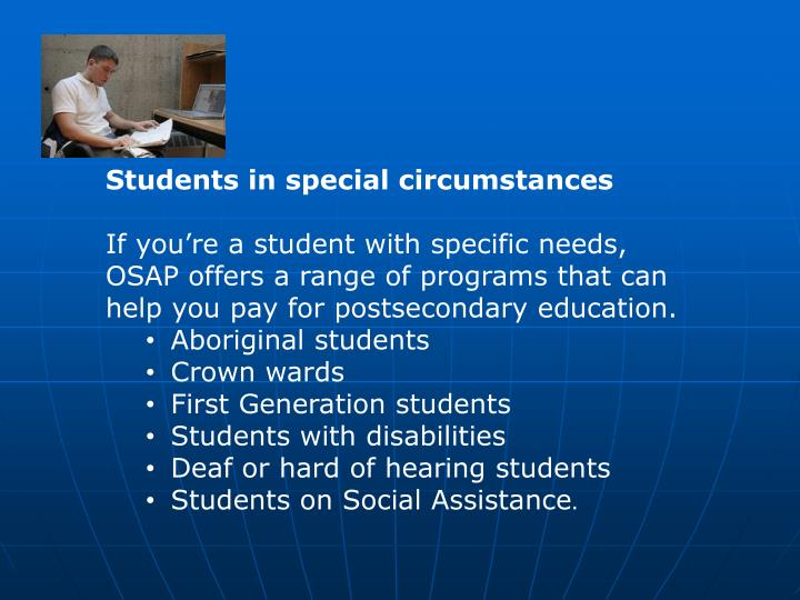 Students in special circumstances