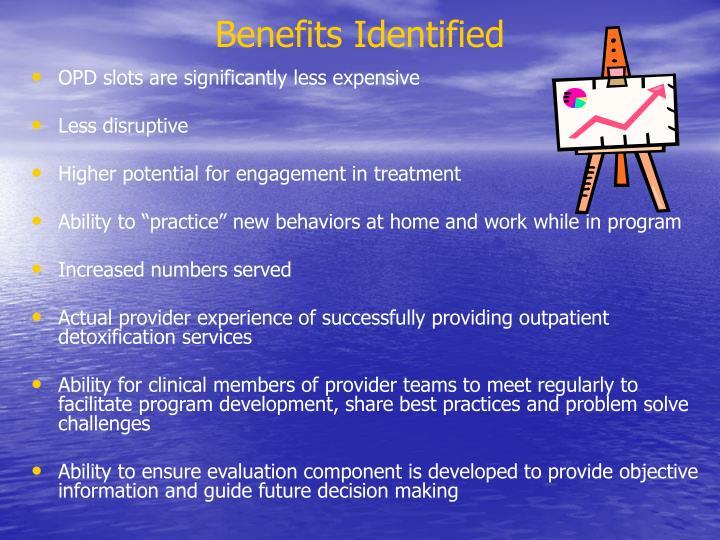 Benefits Identified