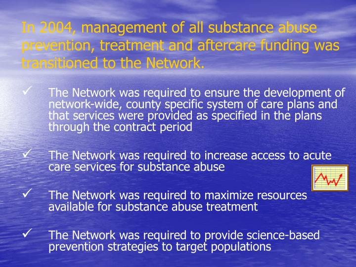 In 2004, management of all substance abuse prevention, treatment and aftercare funding was transitioned to the Network.