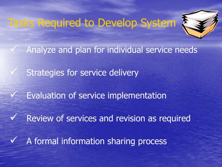 Tasks Required to Develop System