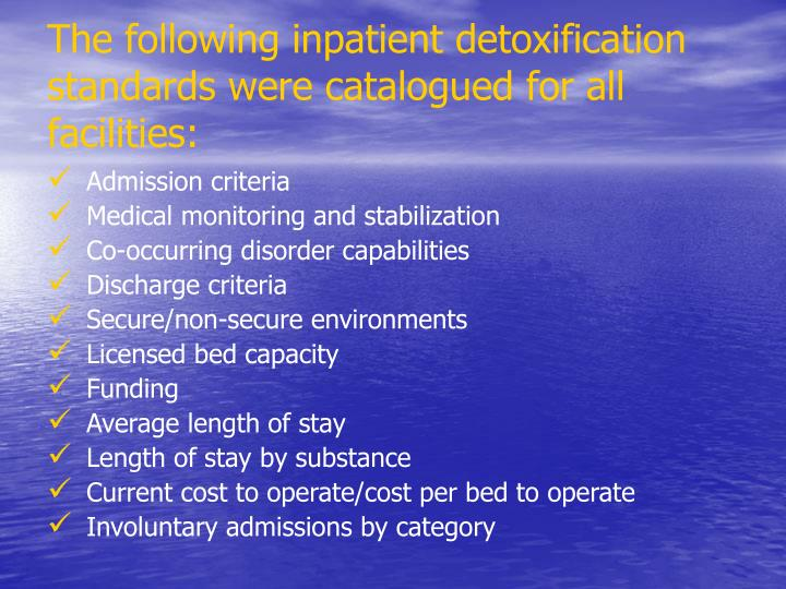The following inpatient detoxification standards were catalogued for all facilities: