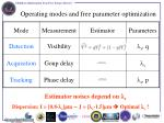 operating modes and free parameter optimization