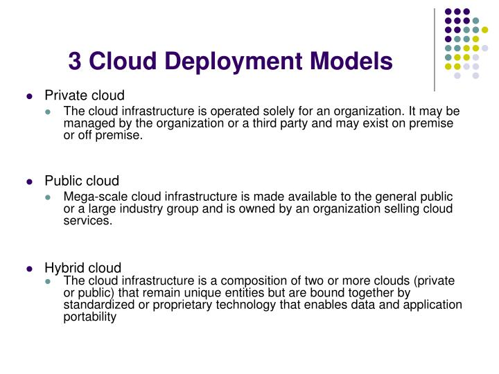 3 Cloud Deployment Models